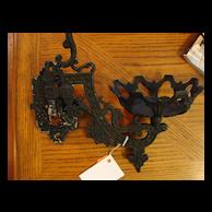 Antique Cast Iron Oil Lamp / Lantern Bracket Sconce - Black