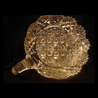 Vintage EAPG DISH etched crystal cut pressed glass handled flower hobstar design