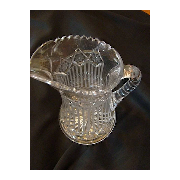 Sawtooth large heavy etched pressed glass Pitcher EAPG