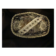 EAPG leaded cut glass sawtooth rimmed oval candy dish