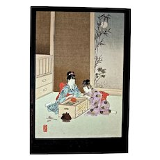 "SHUNTEI MIYAGAWA (1872-1914) ""Children's Fireworks"" Meiji Period Original Woodblock Print"
