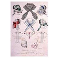 Fevrier 1857 CHAPEAUX d'ALPHONSINE 'Bonnets et Lingeries de Mille. Anna Loth' Hand-Colored Engraving
