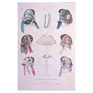 Aout 1857 CHAPEAUX d'ALPHONSINE 'Lingeries de Mille. Anna Loth'  Hand-Colored Engraving