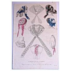 Avril 1857 CHAPEAUX d'ALPHONSINE 'Modeles de Lingeries de Mille. Anna Loth'  Hand-Colored Engraving