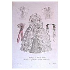Janvieu 1852 MODELES DE LINGERIES DE LA MAISON, Colas, 47, r, Vivienne  - Paris, 92 rue Richelieu -  Hand-Colored Engraving