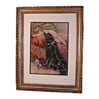 """Reclining Child & Large Black Dog""  Victorian Print- Original Mat & Frame"