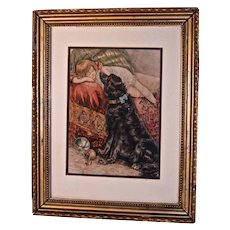 """Reclining Child & Large Black Dog""  Victorian Print- Original Mat & Frame"