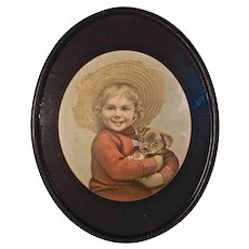 """Child in Straw Hat Holding Puppy"" Very Old Print in Original Mat & Frame"