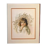 MAUD HUMPHREY 1888 'Under The Mistletoe' Lithograph - Frederik A. Stokes & Brother