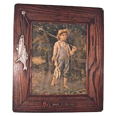"""He's Been Fishing"" 1904 Print - Matching Custom Fish Frame"