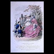 #500 COSTUMES d'ENFANTS DES MAGASINS - 1880s Hand  Colored Engraving by Jules David for Le Moniteur de la Mode, Rue Richelieu 92 a' Paris