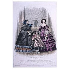 #510 'TOILETTES' 'ROBES' 'COSTUMES d'ENFANTS - 1880s Jules David Hand Colored Engraving for 'Le Moniteur de la Mode' Paris