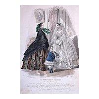 #509 'TOILETTES' - 'COSTUMES d'ENFANTS - 1880s Jules David Hand Colored Engraving for 'Le Moniteur de la Mode'