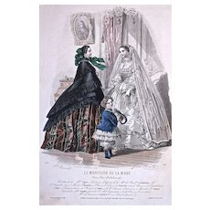 #509 'TOILETTES' - 'COSTUMES d'ENFANTS - 1880s Jules David Hand Colored Engraving for 'Le Moniteur de la Mode'