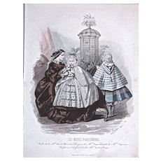 1858 LES MODES PARISIENNES 'Robes de la Mon. Fauvet - Hand Colored Lithograph #783