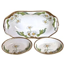 WEIMER GERMANY 3-Piece Porcelain Mint/Nut Dishes - Handpainted Daisies