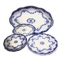 'KEELE'  W. H. Grindley  9-pc.: Flow Blue Dinnerwre, Scrolls & Embossed Dots
