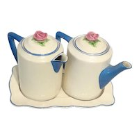 ENGLISH TEA SET - Hot Water Pot & Tea Pot on Tray by Ambassador Ware of Fondeville, England