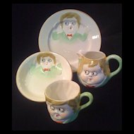 NIPPON 1911-1921 Googly Eyed Child's China Dishes 4-piece Set