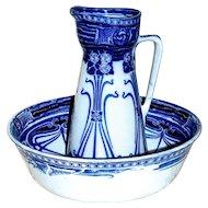 ROYAL DOULTON - 1903 'Aubrey' Flow Blue Art Nouveau Basin & Jug/Pitcher - Ironstone China