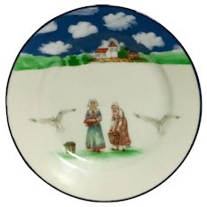 "ROYAL BAYREUTH - ""Brittany  Women"" - Hand Painted  Cabinet Plate."