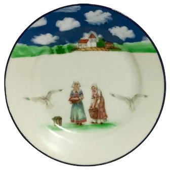 """ROYAL BAYREUTH - """"Brittany  Women"""" - Hand Painted  Cabinet Plate."""