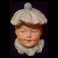 HEUBACH - Humidor Tobacco Jar - Little Boy Clown - Bisque Head