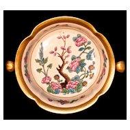PICKARD  Oriental Ming Tree Design Footed Bowl - 24K Gold Trim