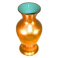 """PICKARD - 10"""" Vase - Rose & Daisy 24 Karat Applied All Over Gold (AOG) Cased Turquoise Glass  Interior"""