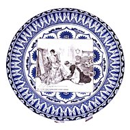 """ROYAL DOULTON  """"She Finds Some Consolation in Her Mirror"""" Antique Flow Blue Gibson Girl Collector's Plate"""