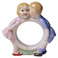 GIRL & BOY KISSING Napkin Ring - Nippon - Hand Painted Porcelain