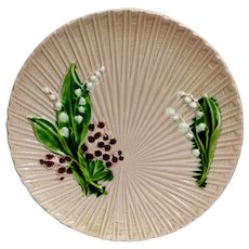 "SCHRAMBERG   ""Lily Of The Valley""  German Majolica Hand Painted Platter"
