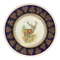 """STAG"" Deer Plate by Solian Ware aka Simpsons Potters, ltd ala Ambassador Ware - 22K Gold Trim"