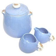 ROSE PARADE by Hall's Kitchenware - Blue Bean Pot/Cookie Jar with Cream & Sugar