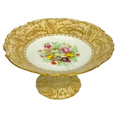 COALPORT - ADELAIDE Compote - Hand Painted Flowers Shape 5/359 - Rococo Revival  ca 1840