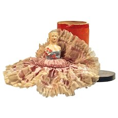 """DOLL IN A CAN"". Half-Doll Pincushion/Hatpin Cushion - 1930s"