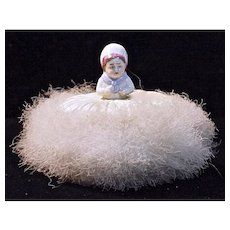 SWANSDOWN PUFF - Little Dutch Girl Half Doll attached to silk on top of puff.