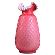 THOMAS WEBB Victorian Cranberry Red Satin Sandwich Glass - Mother of Pearl Diamond Quilt Vase