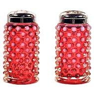 FENTON SHAKERS - Cranberry Glass Hobnail Opalescent Salt & Pepper Shakers