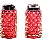 FENTON SHAKERS - Cranberry Glass Hobnail Opalescent Salt & Pepper Shakers