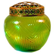 LOETZ VASE & FLOWER FROG - Creta Rusticana Iridescent Green Bowl-Shaped - Polished Pontil