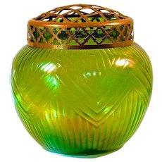 LOETZ VASE & FLOWER FROG - Creta Rusticana Iridescent Green Bowl-Shaped - Polished Pontil