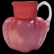 SATIN GLASS PITCHER - Herringbone Mother-Of-Pearl & Cranberry Pink Velvet - Applied Handle