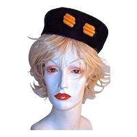 1940s PILLBOX HAT with Butterscotch Bakelite Hatpin on Black Silk Velvet
