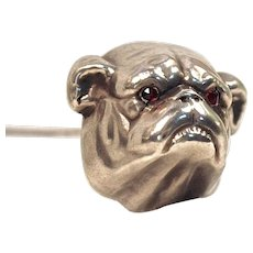 UNGER. BROS. 'Bulldog' Sterling Silver Hatpin - Garnet Eyes - Circa 1880