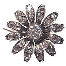 UNIQUE  Rare Sterling  Paste Flower Hatpin-Brooch Combo.  1910