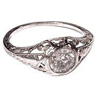 DIAMOND RING - Platinum Filigree - .75 carats