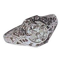 FILIGREE RING - 10 Karat White Gold Set with a .80 Carat Diamond