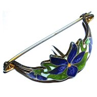 WATSON - 1910 Floral Art Nouveau Guilloche Purple Iris Posy Pin - Enamel on Sterling