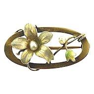 9K Gold Jugendstil Art Nouveau Iridescent Floral Enamel & Natural Freshwater Pearls Bar Pin